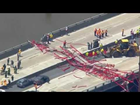 Crane Collapse in New York Tappan Zee Bridge