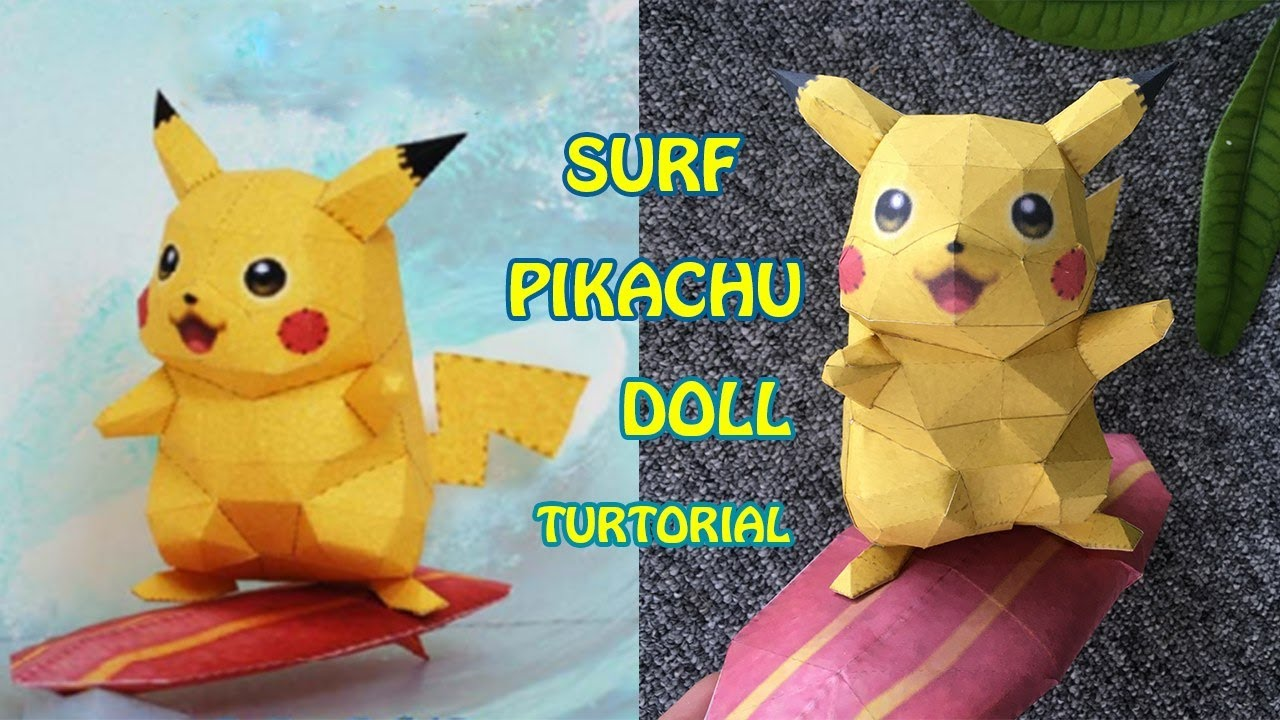[Pokemon Papercarft] - SURF PIKACHU DOLL TURTORIAL BY POKEMON BATTLE ROYALE