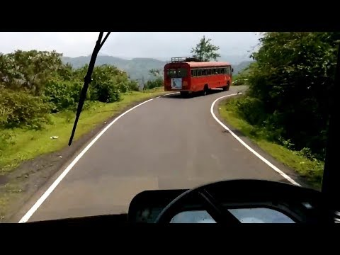 Brilliant Driving on Dangerous Amba Ghat | Kolhapur Ganpatipule MSRTC Bus Ride on Amba Ghat | Konkan