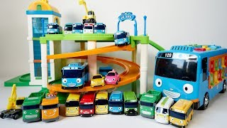 Tayo the Little Bus Parking Play Set Toys unboxing with Wheels on the bus nursery rhymes