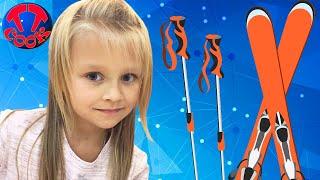 Vlog Детская Площадка - Ярослава учиться кататься на ЛЫЖАХ Видео для детей