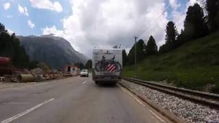 Driving through the Alps: Tirano (Italy) -  St. Moritz (Swiss)   [Bernina Pass]