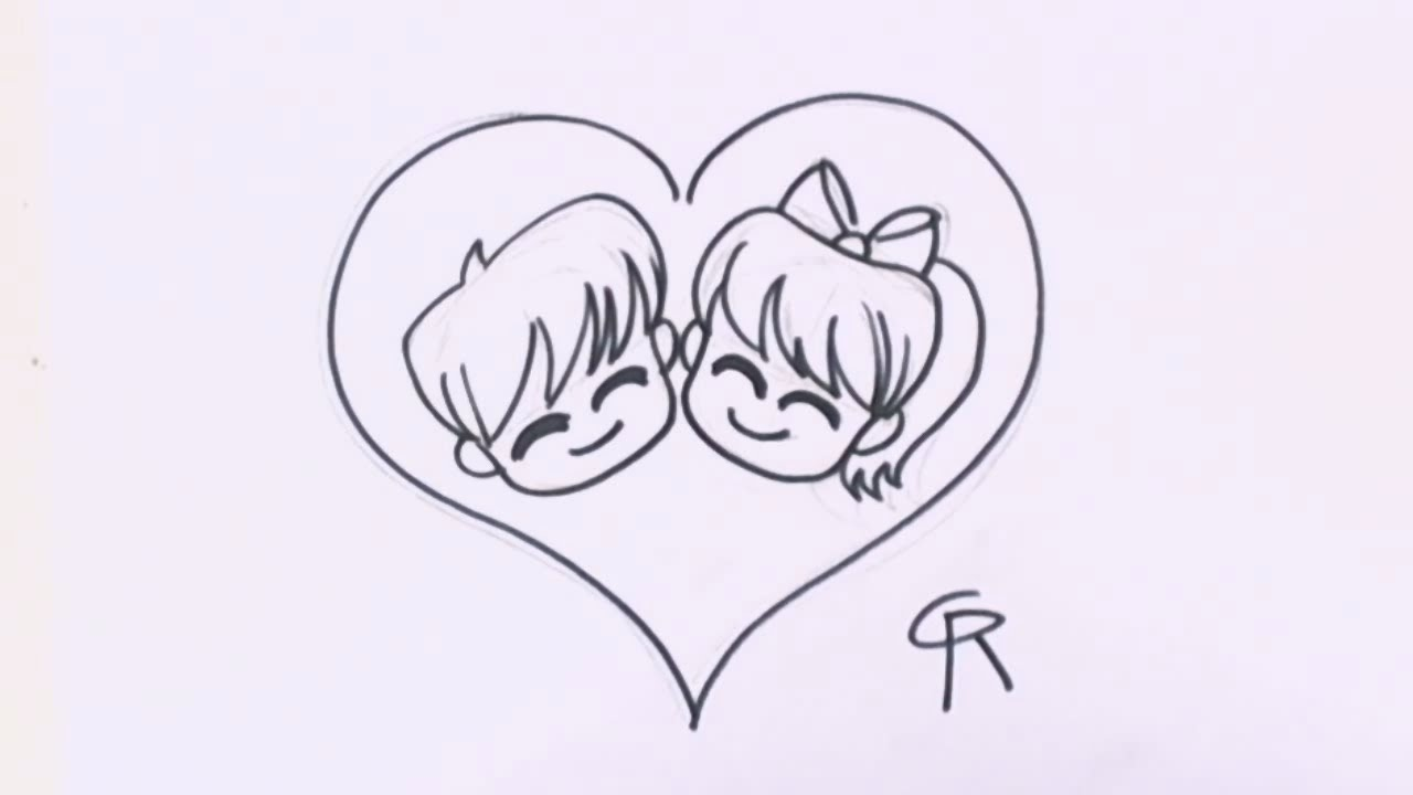 How to draw chibi characters cute chibi couple in love heart cc youtube