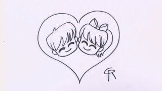 How to Draw Chibi Characters - Cute Chibi Couple in Love Heart | CC