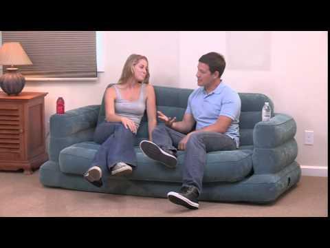 Sof cama inflable intex queen de 2 5 plazas con 2 posa for Sofa cama inflable