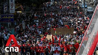 Tens of thousands protest in Myanmar for second day against military coup
