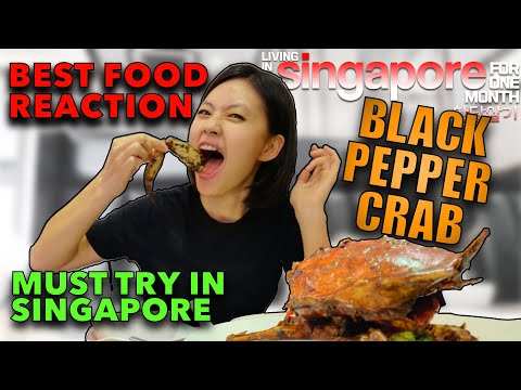 Best BLACK PEPPER CRAB 🦀 In #Singapore 🇸🇬 - Long Beach King Seafood Restaurant #REACTION! #MUST TRY