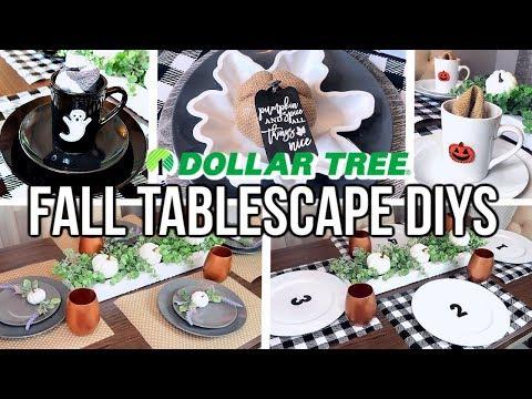 DOLLAR TREE DIY FALL TABLESCAPE IDEAS   FARMHOUSE, BUFFALO CHECK, AND NEUTRAL DECOR