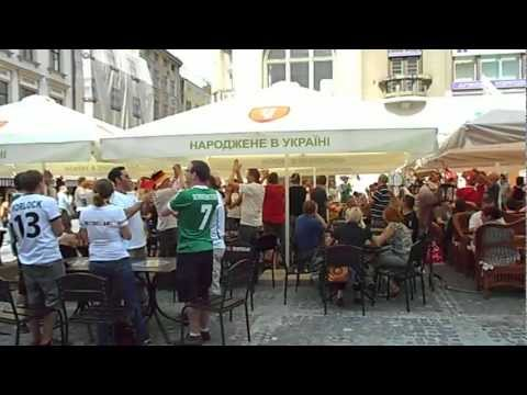 Euro 2012: Germany v Portugal in the Lviv beer party before match