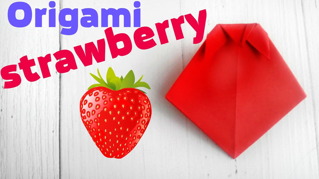 origami strawberry tutorial easy instructions 3d scheme