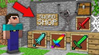 Minecraft NOOB vs PRO: NOOB FOUND ABANDONED SECRET SWORD SHOP! 100% trolling