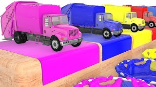 Colors with Garbage Trucks and Cars 3D Cartoons Animation Video Songs
