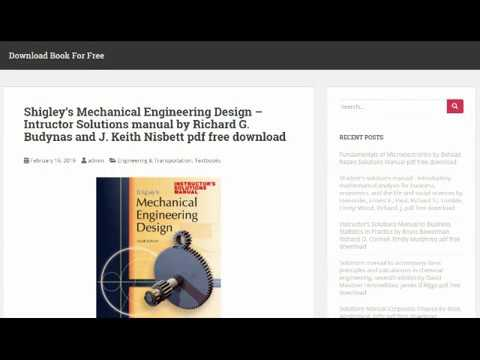 Shigley's Mechanical Engineering Design Solutions manual by Budynas &  Nisbett pdf free download