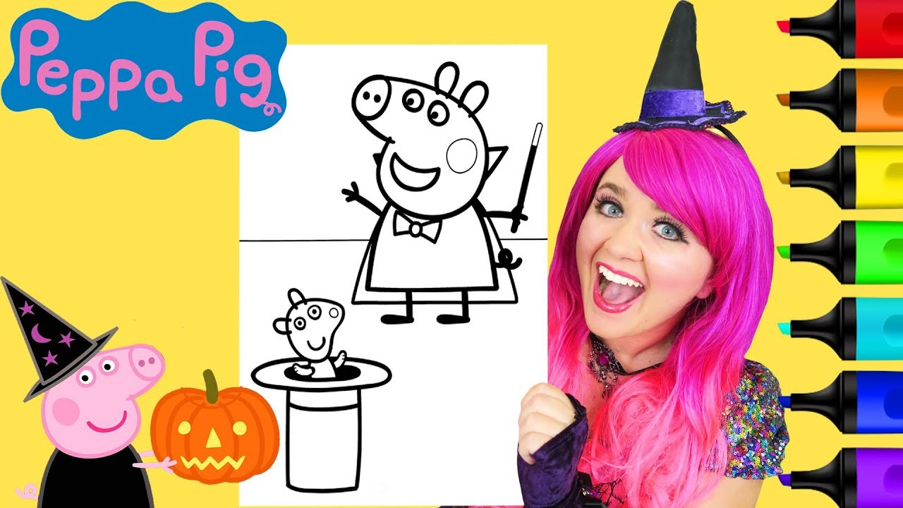 Coloring Peppa Pig Magician Halloween Coloring Page Prismacolor ...