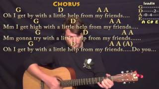 With A Little Help From My Friends (Joe Cocker) Guitar Lesson Chord Chart in A - Chords/Lyrics