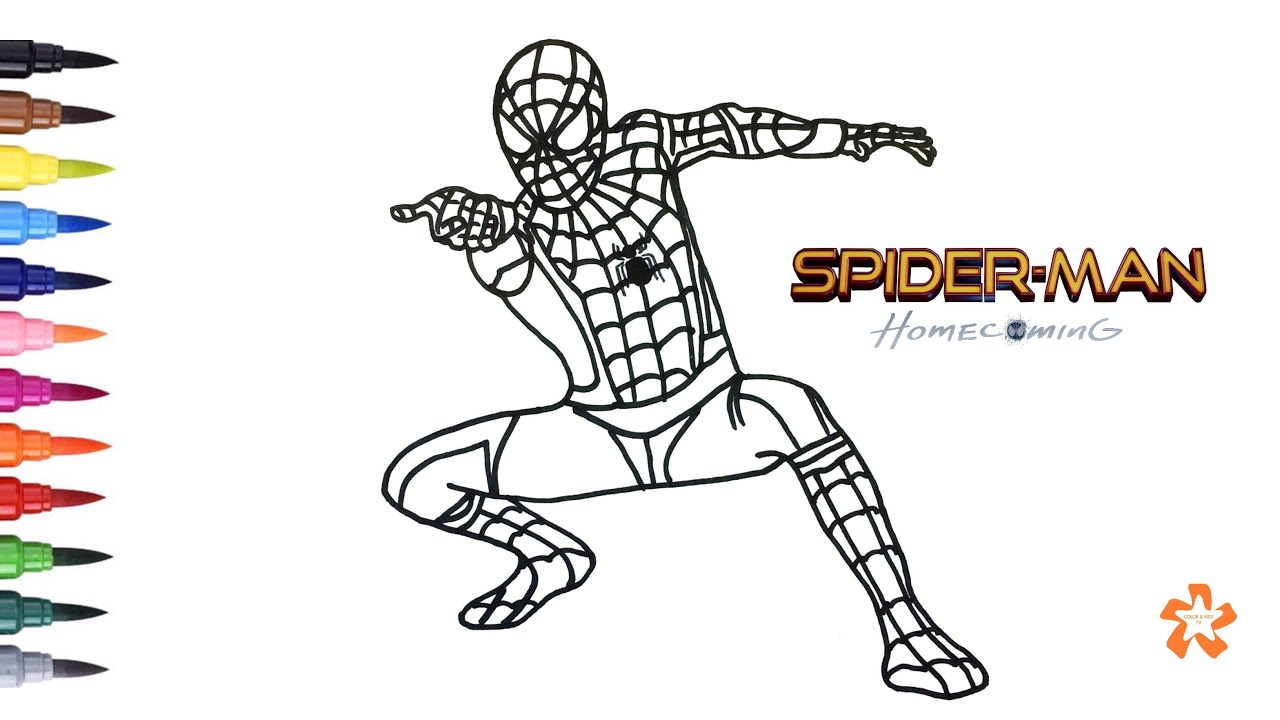 spider man homecoming coloring pages How to color Spider man   Spider man: Homecoming   Coloring Pages  spider man homecoming coloring pages