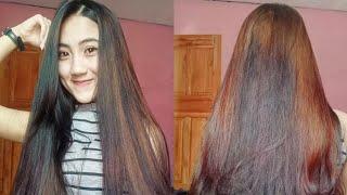 Girl long Heavy hair play and braid