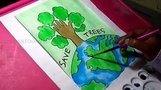 How to Draw Save Trees and Earth / Environment Drawing for Kids