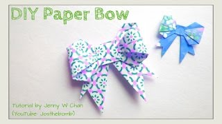 Easter Crafts - Paper Bow Origami Bow - How to Make a Ribbon Bow for Cards & Wrapping Presents