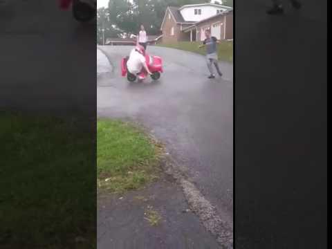 Fat guy breaks arm when flips toy car😂