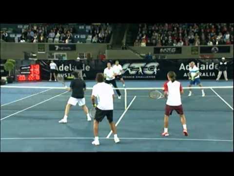 Rafter & Dolgopolov v Wawrinka & Bahrami   World Tennis Challenge Adelaide 2012