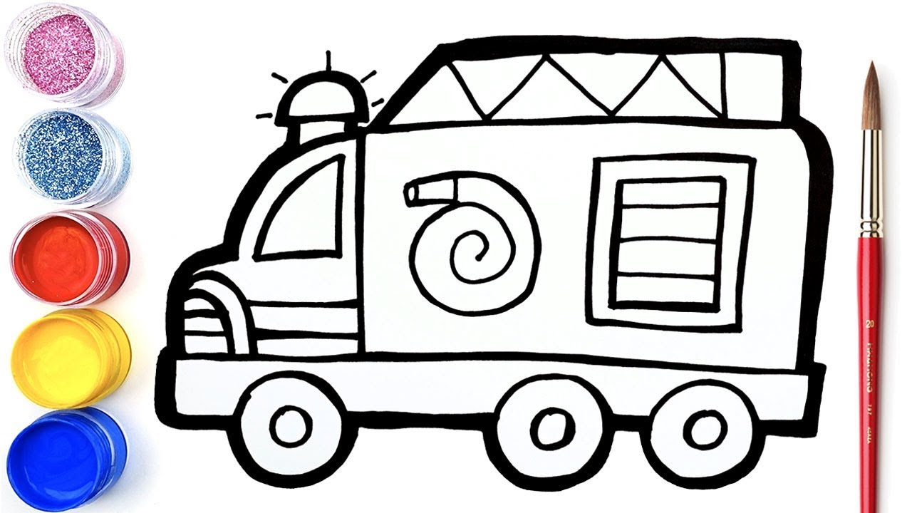Glitter Firetruck coloring and drawing Learn Colors for kids ...