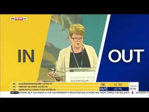 Sky News HD   UK EU Referendum First Result Sunderland 'OUT' June 2016
