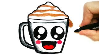 HOW TO DRAW A CUTE CUP OF COFFEE