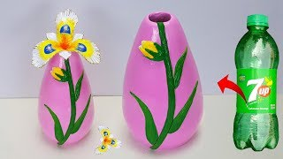 Stylist flower vase making at home // Plastic bottle flower vase and clay flower