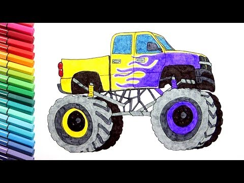 Monster Truck Drawing And Coloring Vehicles Learning Monster Truck Color Pages For Kids Youtube