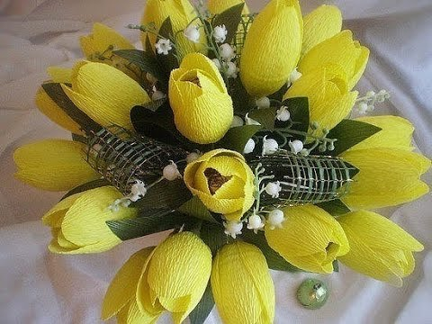МК - тюльпаны из гофрированной бумаги ///// Master Class - tulips from corrugated paper