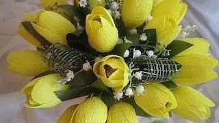 МК - тюльпаны из гофрированной бумаги ///// Master Class - tulips from corrugated paper(Делаем красивые тюльпаны из конфет и гофрированной бумаги своими руками. цветы из бумаги с конфетами, аппли..., 2016-03-29T12:07:21.000Z)