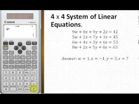 Solve 4 by 4 system of linear equations by Canon F-789SGA ...