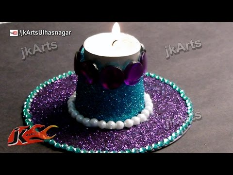 DIY Glitter Candle Holder | Best Out of Waste DVD and Plastic Glass | JK Arts 409