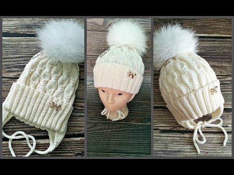 Детская шапка спицами для девочек на зиму
