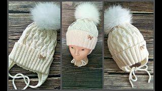 Шапка детская спицами. Модная шапочка для девочки. Подробный МК.