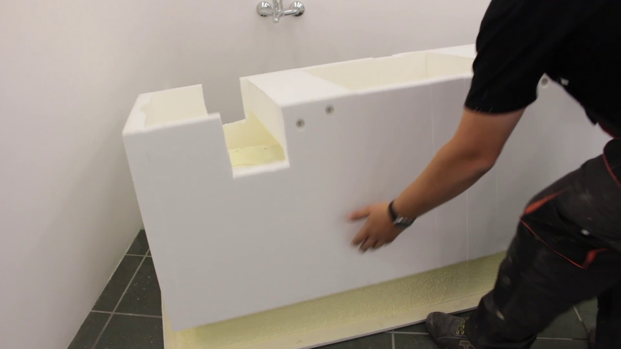 Styroporträger Styropor Wannenträger Badewanne fliesen 120-170x75 cm universell