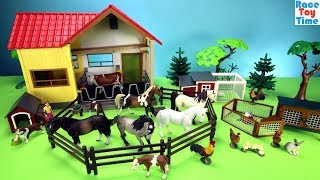 Toy Farm Animals Schleich Playsets Build and Play Toys For Kids - Learn Animals Video