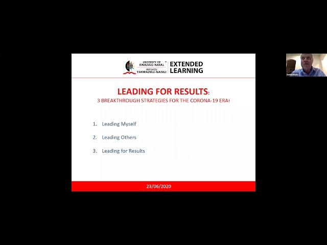 Webinar: Leading for Results - 3 Breakthrough Strategies for the CORONA-19 Era!