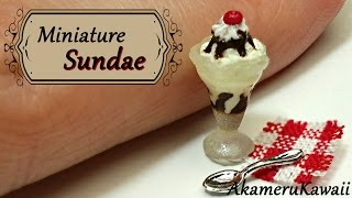 Miniature Sundae Ice cream in polymer clay glass - Polymer Clay Tutorial