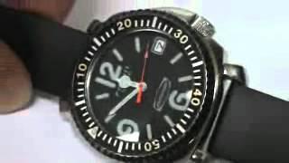 Rare Vintage Deal Mens Fossil Defender Automatic Dive Surf Divers Watch C Video