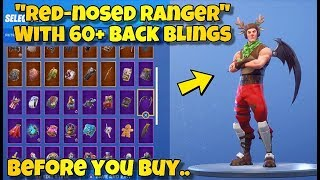 "BEFORE YOU BUY - NEW ""RED-NOSED RANGER"" SKIN Showcased With 60+ BACK BLINGS! Fortnite Battle Royale"