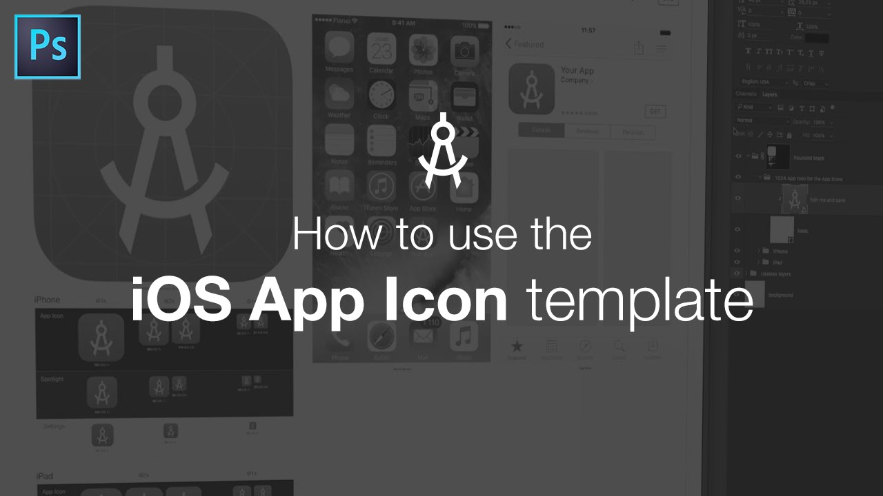 How to use the ios app icon template youtube maxwellsz