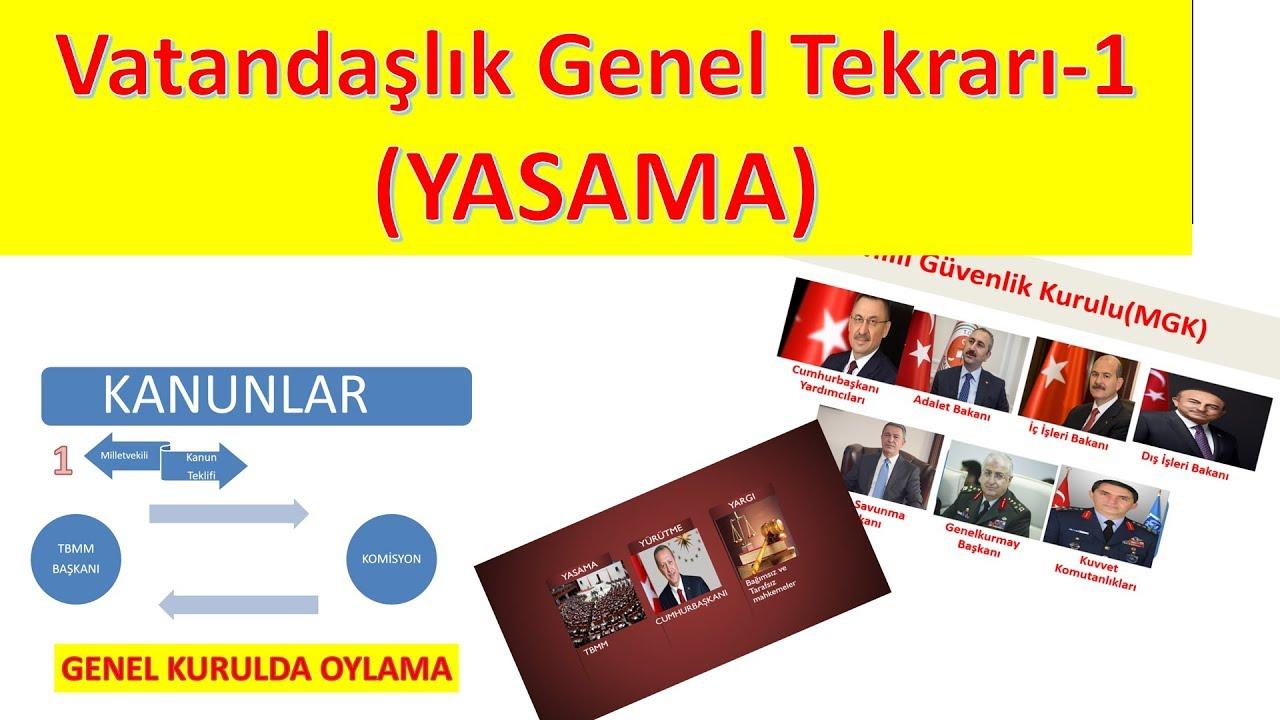 Vatandaşlık EN ÖNEMLİ KONULAR & GENEL TEKRAR-1 YASAMA
