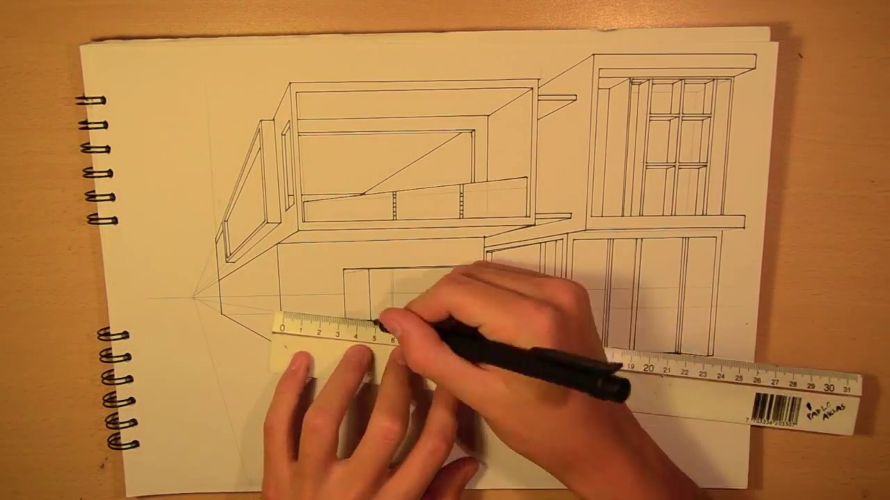 Architecture design 3 drawing a modern house 1 point for Architecture modern house design 2 point perspective view