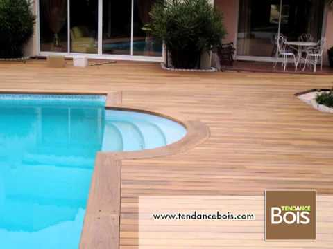 Pose de margelles de piscine en ip youtube for Pose margelle bois piscine