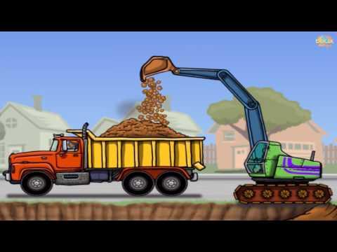 รถแม็คโคร รถตักดิน รถเกรด การ์ตูนรถก่อสร้าง excavator and dump truck
