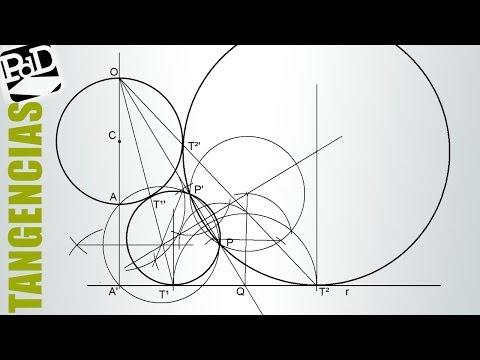 Tangentes a una recta y una circunferencia pasando por un punto. 4 soluciones (1 de 2).