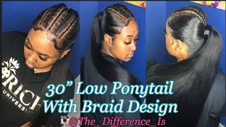 "Low 30"" Ponytail W/braid Design Hair Tutorial | BeautyForever.com"