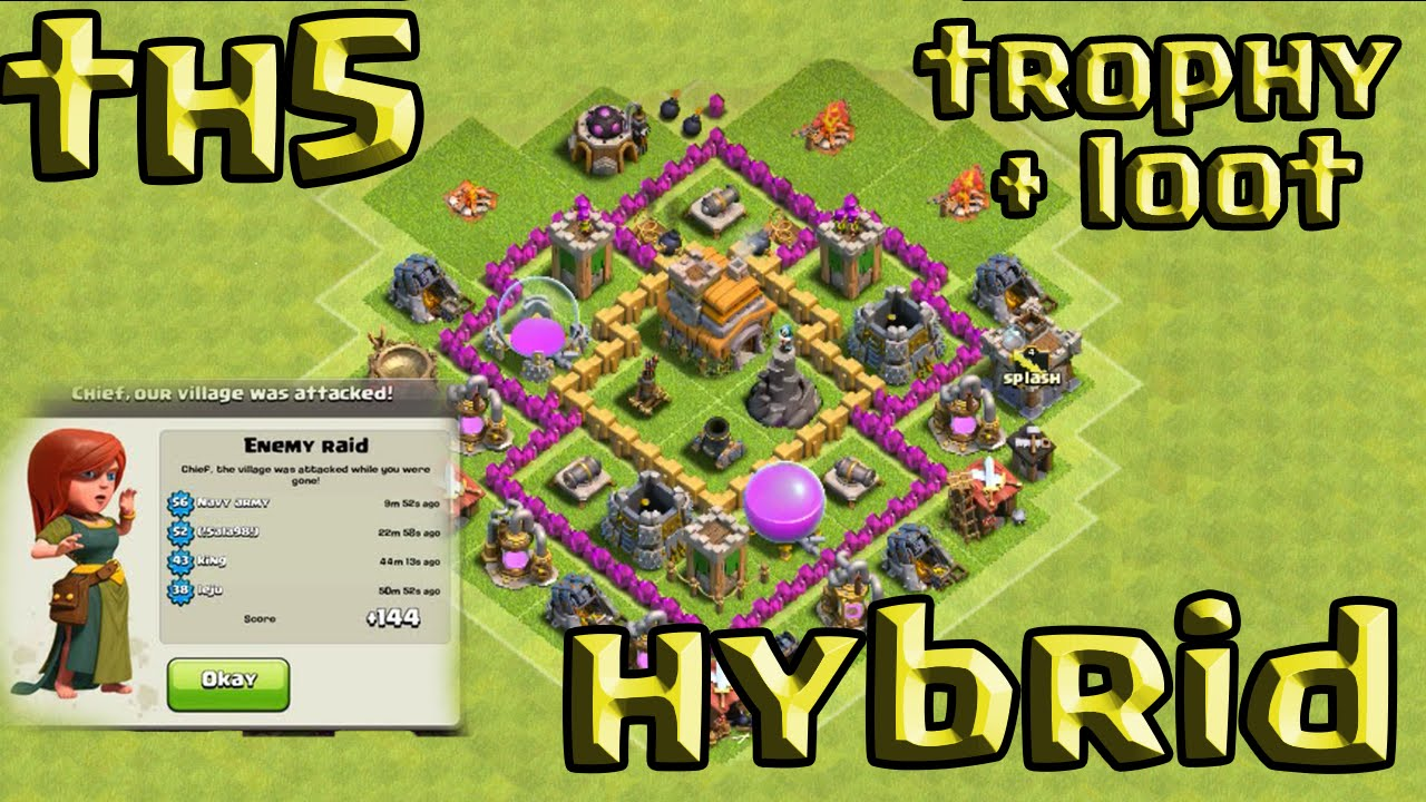 Defense coc th5 best hybrid base layout defense strategy youtube